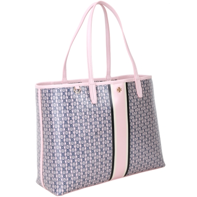 TORY BURCH GEMINI LINK 雙鏈圖騰防水帆布托特包(粉色)