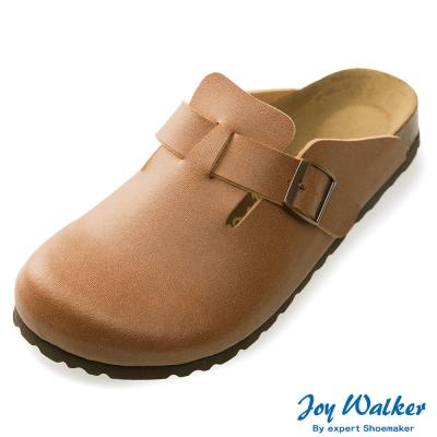 Joy Walker 素色休閒包頭拖鞋*駝色