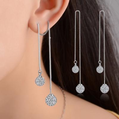梨花HaNA 925銀熱賣系列水鑽球球長耳線雙邊耳環