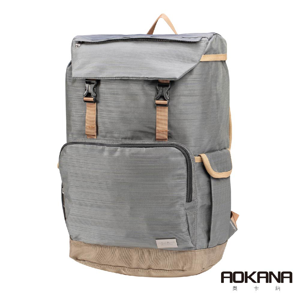 AOKANA奧卡納 輕量防潑水護脊電腦商務後背包(時尚灰)68-092