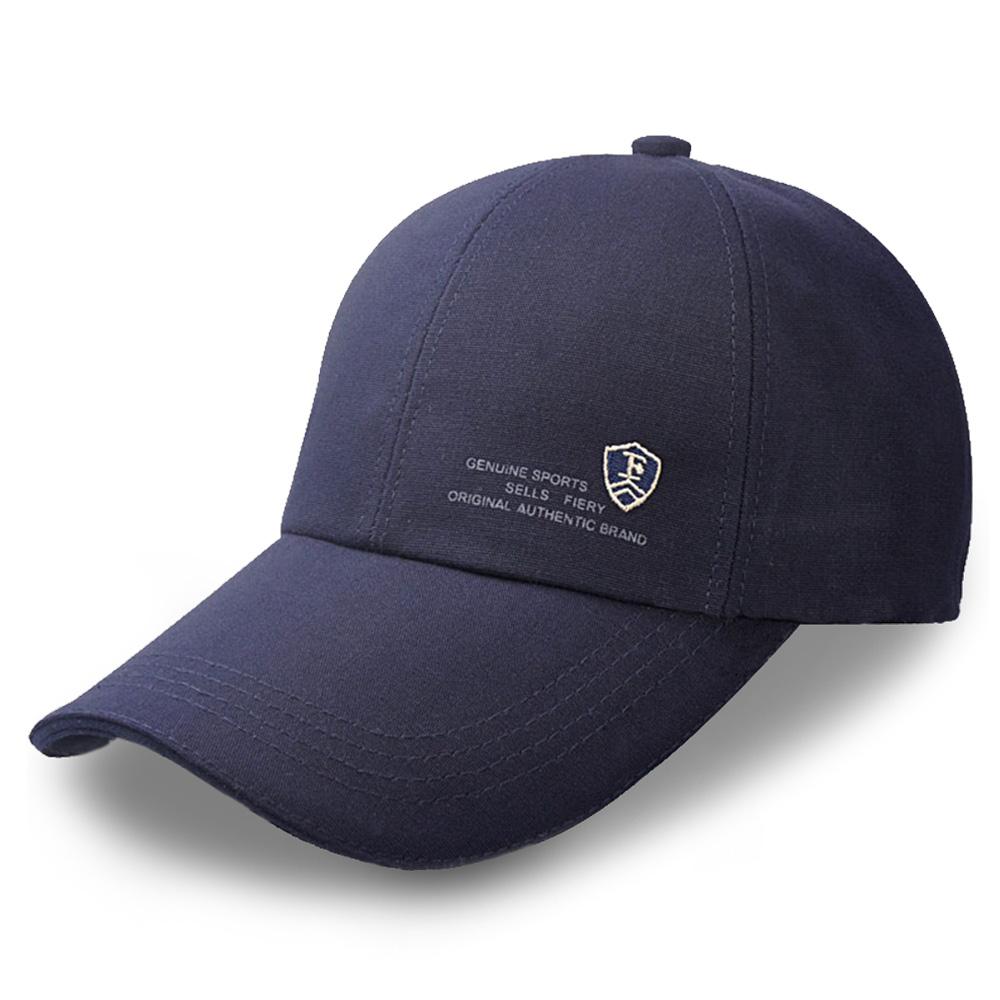 活力揚邑 防曬防紫外線防風戶外運動透氣鴨舌帽盾形F刺繡棒球帽-藍