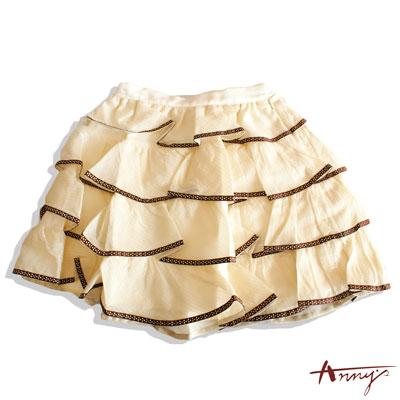 可愛點點壓邊荷葉波浪蛋糕短裙*9112米白