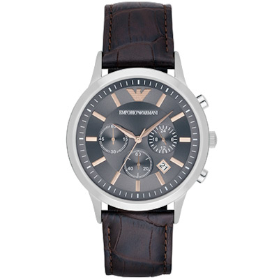 Emporio Armani 亞曼尼 Classic 三眼計時腕錶-灰x咖啡/44mm