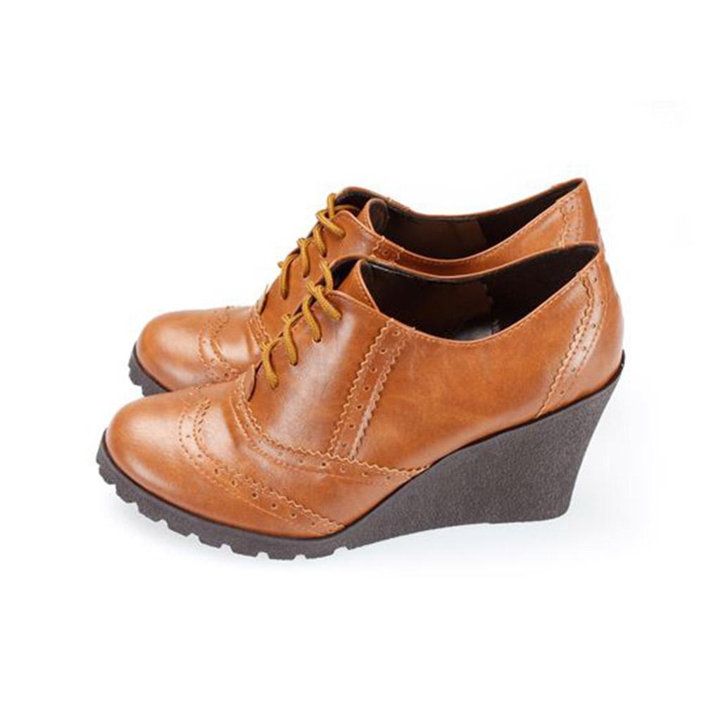 FUFA  MIT  英風牛津楔形鞋(FA79) 棕色