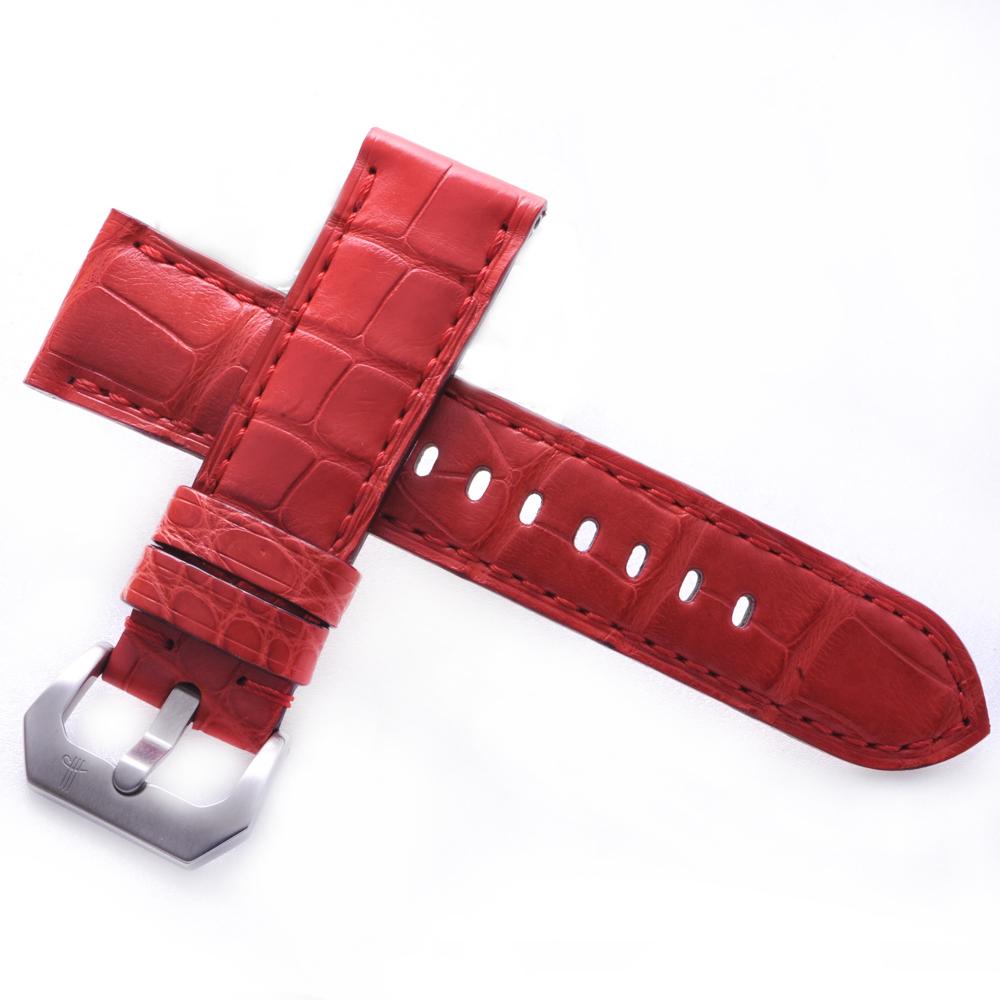 TED SU 太和錶帶 烈焰紅唇Panerai 沛納海代用帶紅色鱷魚同色線-24*22mm