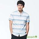 bossini男裝-橫條短袖襯衫01淡藍
