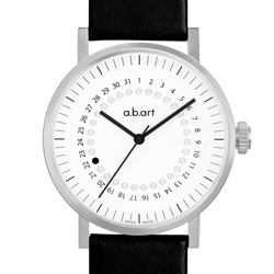 a.b.art OA系列 日期圓盤跳點機械腕錶-白/40.5mm