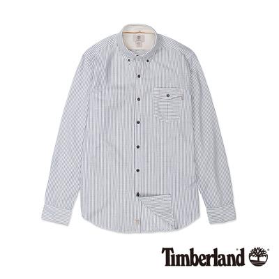 Timberland-男款靛藍色造型條紋長袖襯衫