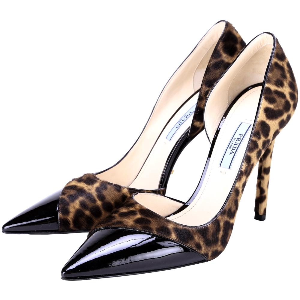 PRADA 豹紋拼接漆皮尖頭高跟鞋