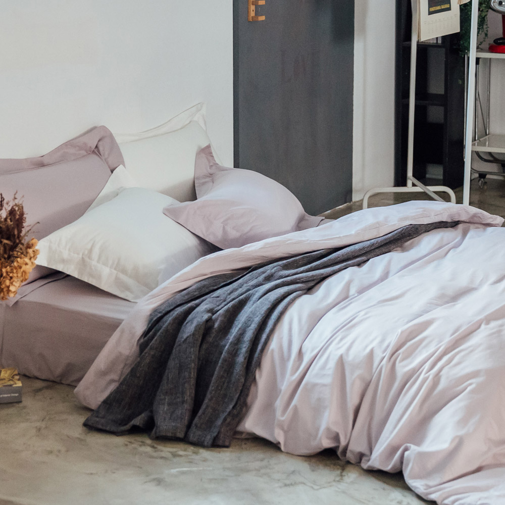 LAMINA 純色-灰芋紫 精梳棉三件式被套床包組(單人)