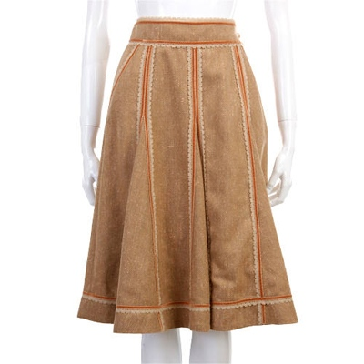 TOMASO 咖金色滾邊蕾絲設計及膝裙