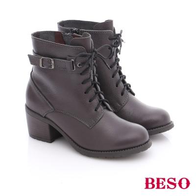 BESO 潮人街頭風 率性真皮綁帶釦飾短筒軍靴 灰色