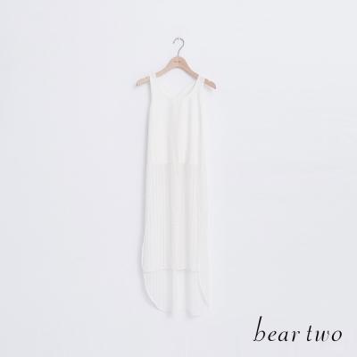 beartwo 百褶視覺感長版背心洋裝(白色)-動態show