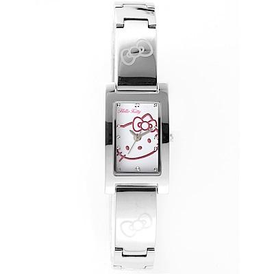 HELLO KITTY 凱蒂貓秀氣質感流行手錶 銀x白/19mm