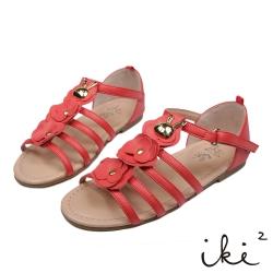 iki2童鞋-咕妮兔系列-羅馬花朵涼鞋-可愛紅