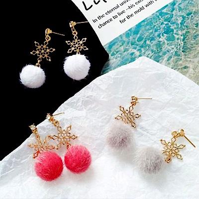 Hera 赫拉 韓國簡約雪花毛球耳環耳釘/無耳洞耳夾