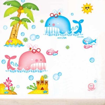 A-033手繪動物系列 可愛鯨魚大尺寸高級創意壁貼  牆貼