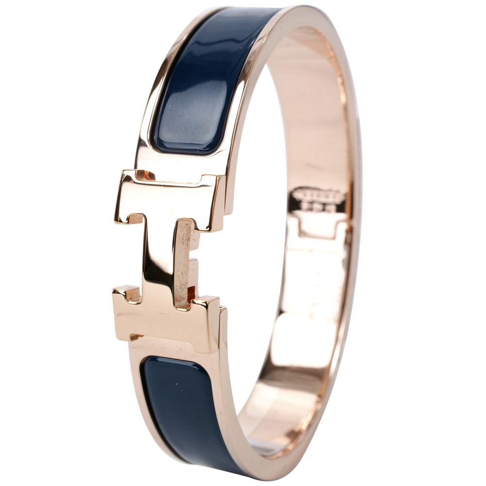 HERMES Clic H PM經典LOGO設計手環深藍x玫瑰金