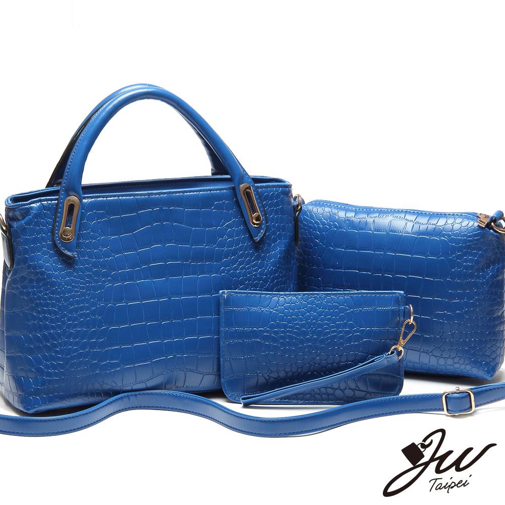 JW古堡女爵鱷魚壓紋肩提包三件組 優美藍