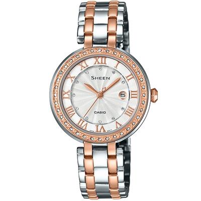 SHEEN 羅馬之愛施華洛世奇晶鑽腕錶(SHE-4034BSG-7A)-白x玫瑰金/30.5mm