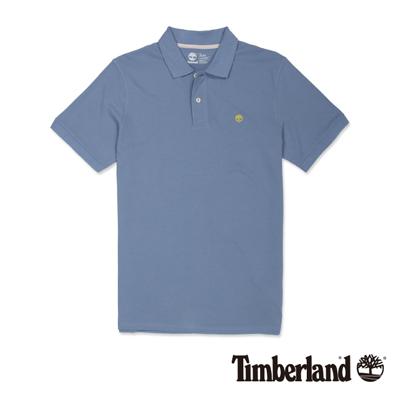 Timberland-男款藍灰色素面刺繡短袖Polo衫