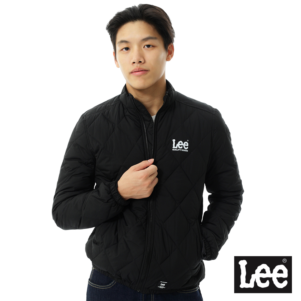 Lee 羽絨外套 小立領菱格車線-男款-黑