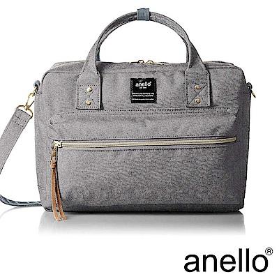 anello 獨特混色花紋手提斜背兩用包 灰色 L尺寸