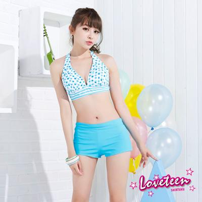 夏之戀LOVETEEN 水藍色圓點比基尼泳裝附外搭褲三件式