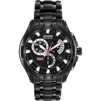 CITIZEN 光動能兩地時間萬年曆腕錶(BL8097-52E)-黑/42mm
