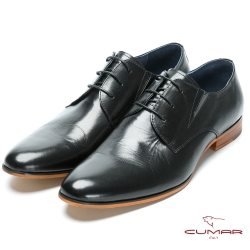 CUMAR 成熟穩重 簡約綁帶紳士鞋-黑