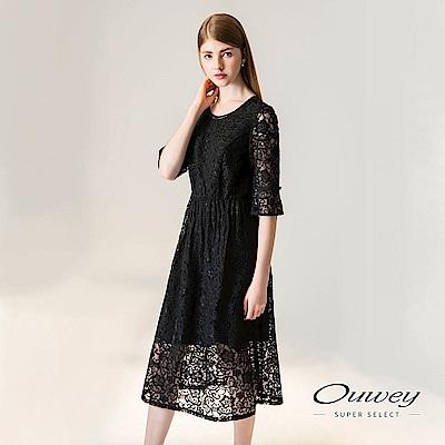 OUWEY歐薇 縷空蕾絲修身長版洋裝(黑-動態show