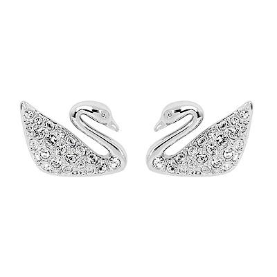 SWAROVSKI 施華洛世奇 優雅天鵝造型水晶銀色耳環