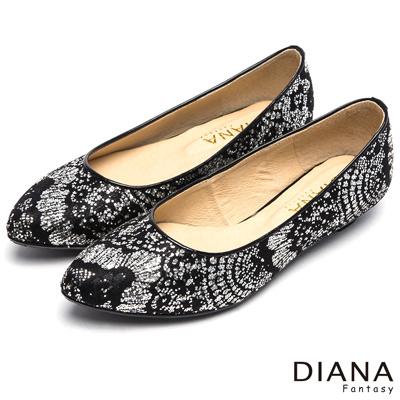 DIANA-搶視風潮-繁星熠熠法式優雅平底鞋-黑蕾絲