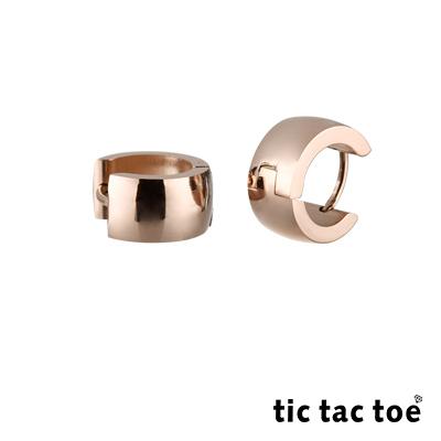 tic tac toe 圓扣穿式白鋼耳環系列-玫金