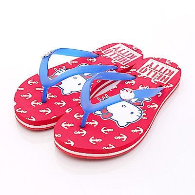 HelloKitty童鞋 海洋風夾腳拖款 16053紅 (大童段)