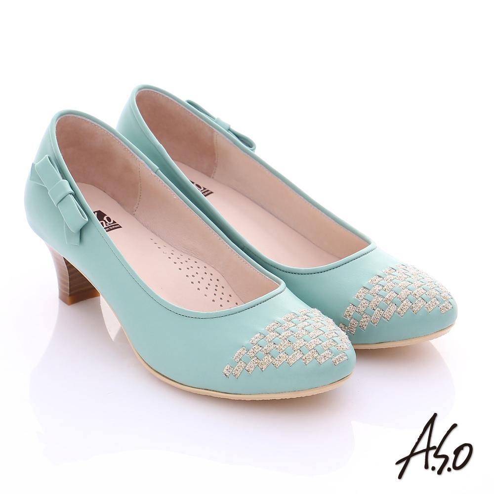 A.S.O舒適通勤 真皮金蔥編織側結飾中跟鞋 淺綠