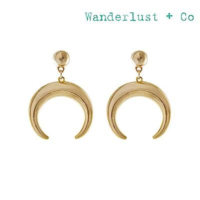 Wanderlust+Co 澳洲時尚品牌 LUNETTE立體新月造型耳環 金色
