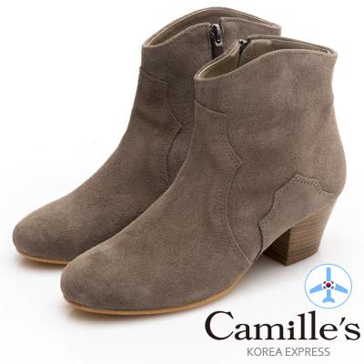 Camille's 韓國空運-素面麂皮拉鍊粗跟短靴-卡其