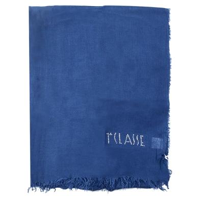 Alviero Martini 義大利地圖 素面水鑽LOGO絲巾-藍(70X200)
