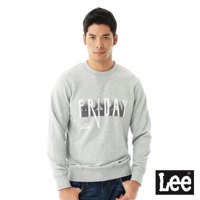 Lee FRIDAY印刷長袖圓領厚T恤/RG-男款-灰