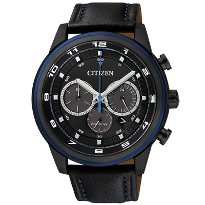 CITIZEN Eco-Drive 青春光動能計時腕錶(CA4036-03E)-IP黑/44mm