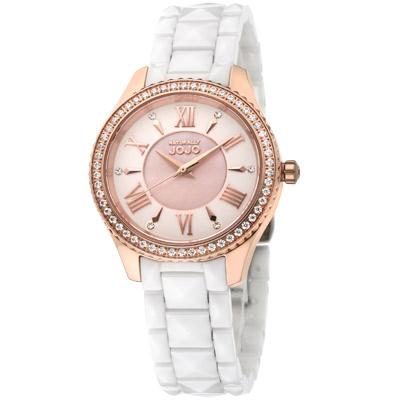 NATURALLY JOJO 宇宙時空時尚陶瓷腕錶-珍珠母貝 白/34mm