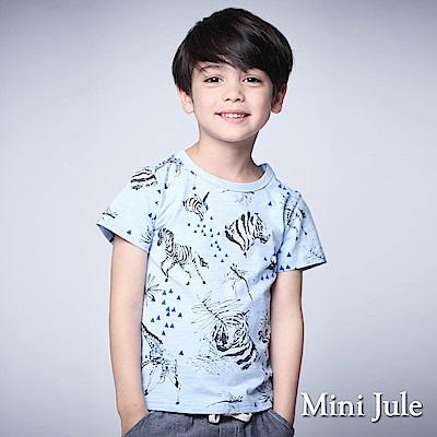 Mini Jule 童裝-上衣 動物幾何三角竹節棉短袖T恤(藍)