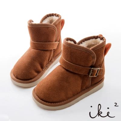 iki2童鞋-咕妮兔真皮暖暖鋪毛短筒靴-淺淺咖
