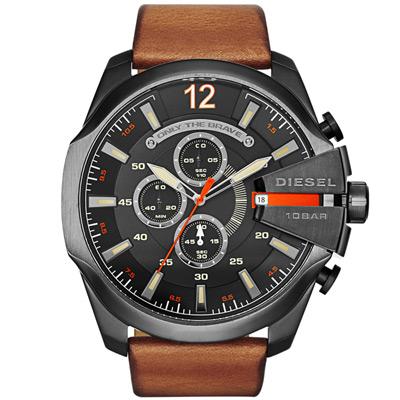 DIESEL 個性驚艷三眼運動腕錶-黑x咖啡皮帶/52mm
