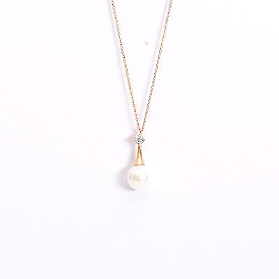 微醺禮物 項鍊 正韓 925純銀 鍍K金 人造珍珠 倒掛垂墜 鋯石 短鍊