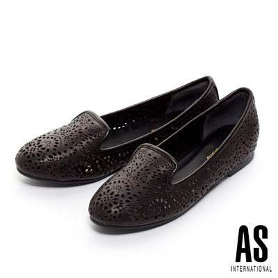 AS-精緻雕花打洞羊皮樂福平底鞋-黑