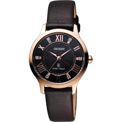 ORIENT 美麗優雅時尚晶鑽女錶-咖啡x玫瑰金框/30mm