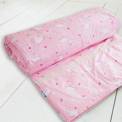 米夢家居-台灣製造-100%精梳純棉雙面涼被<b>5</b>*7尺-北極熊粉紅