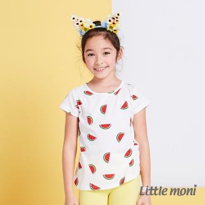 Little moni 涼夏甜心西瓜短袖上衣  白色